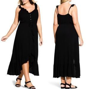 NEW City Chic Button Front Flutter Maxi Dress 16